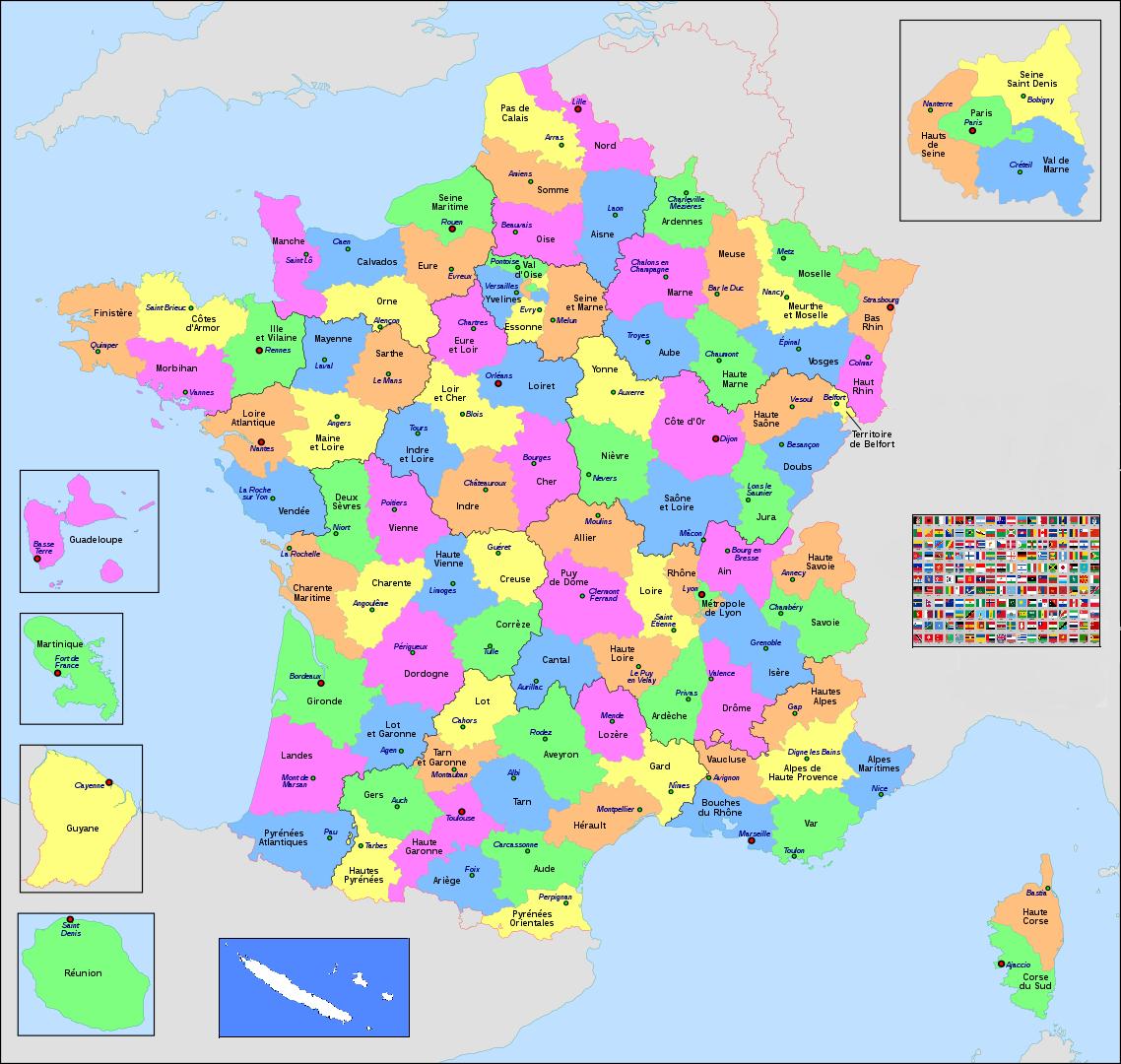 France métropolitaine départements/Outre-Mer/étranger